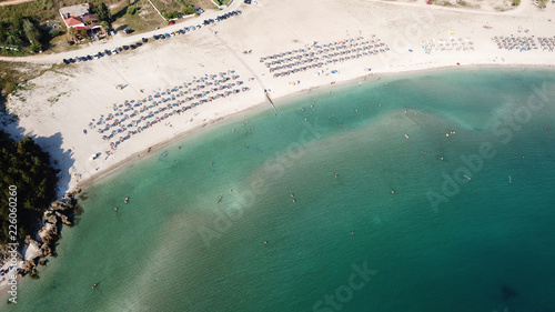 Aerial drone photo of unique beauty of caves and beach o Amoudia near famous beach of Amoudia a natural estuary of river Acheron, Thesprotia, Epirus, Greece
