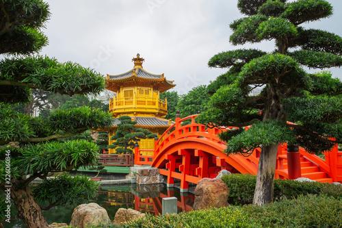 A golden pagoda in Nan Lian garden at Hong Kong - 226060846