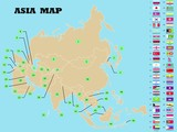 Asia Map with asian countries flags and names