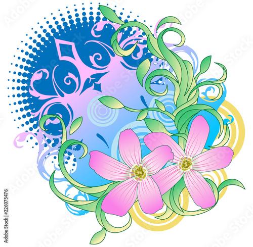Two pink flower design - 226075476