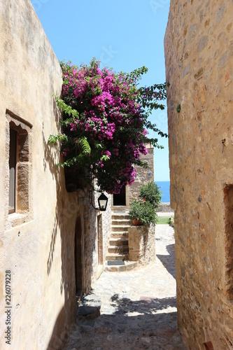 Narrow street in old town of Monemvasia, Peloponnese, Greece
