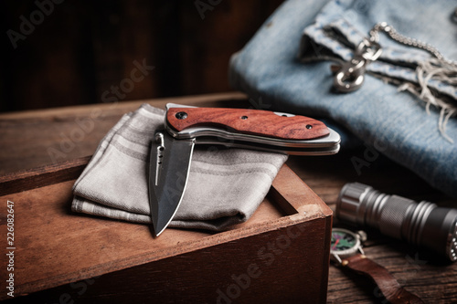 Leinwanddruck Bild folding knife and other EDC for men