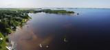 Aerial of lakeshore