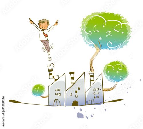 Businessman flying over buildings