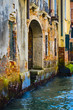 Elements of architecture of houses on the streets of the canals of the city of Venice in Italy.