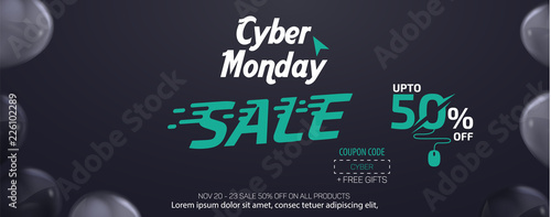 Cyber Monday Social Media Sale Banner Ad Vector Template Design