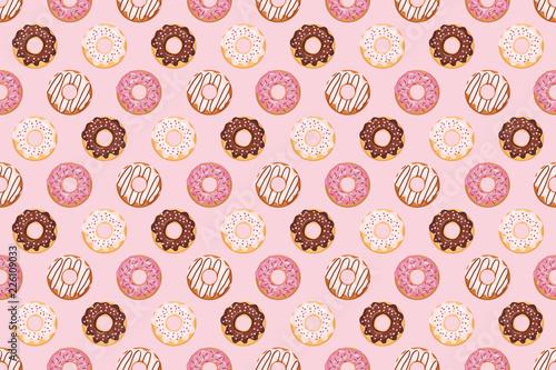 Śliczny wzór z oszklonymi donuts. Różowe i beżowe kolory. Girly. Do druku i internetu.