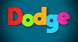 Dodge - overlapping multicolor letters written on blue background