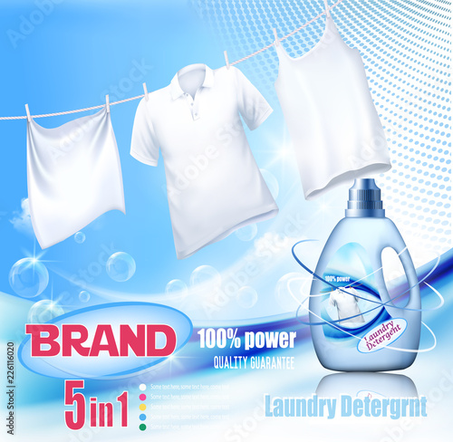 Laundry detergent ad. Washing White clothes hanging on rope and plastic bottle. Design template. Vector
