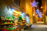 Illuminated Christmas street in Florence