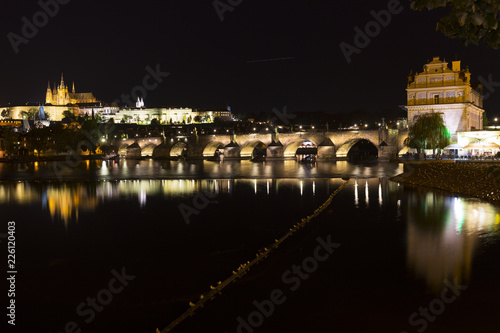 Prague gothic Castle with the Lesser Town above River Vltava in the Night, Czech Republic - 226120403