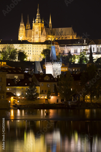 Prague gothic Castle with the Lesser Town above River Vltava in the Night, Czech Republic