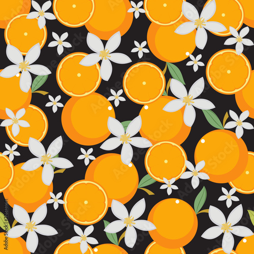 fototapeta na ścianę Seamless Pattern Fresh Orange Fruit Wallpaper Background
