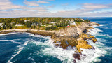 Aerial view of Pemaquid Point Light. The Pemaquid Point Light is a historic US lighthouse located in Bristol, Lincoln County, Maine, at the tip of the Pemaquid Neck. - 226140855