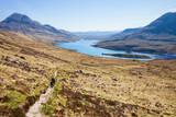 .The footpath near the Loch Lurgainn . ( View from Stac Pollaidh  towards loch lurgainn), Inverpolly, Northwest Highlands, Scotland. - 226151288