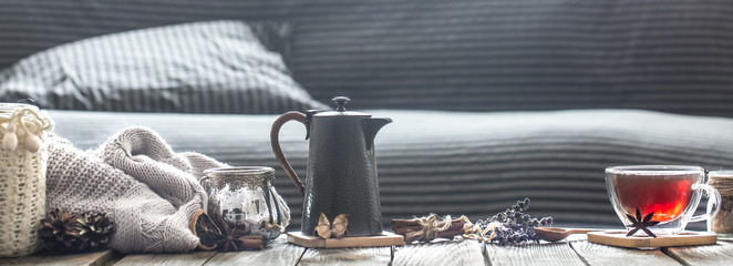 cozy living room with tea on the table © puhimec