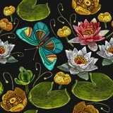 Classical embroidery pink and white lotuses, water lilies and butterfly, template fashionable seamless pattern clothes, t-shirt design vector. Water lily embroidery seamless pattern - 226154875