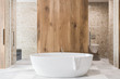 Leinwanddruck Bild - Wooden bathroom interior, white tub