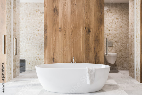 Leinwanddruck Bild Wooden bathroom interior, white tub