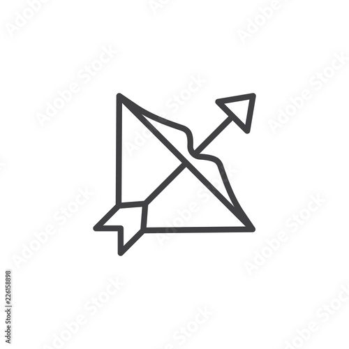 Sagittarius zodiac outline icon. linear style sign for mobile concept and web design. Bow and arrow line vector icon. Symbol, logo illustration. Pixel perfect vector graphics © alekseyvanin