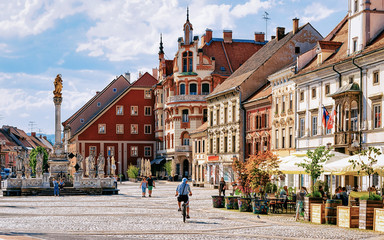 Maribor Town Hall square Slovenia Europe. Maribor Town Hall and Plague Column on the central square, Lower Styria, in Slovenia