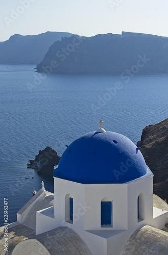 Blue temple's dome in Santorini, Greece