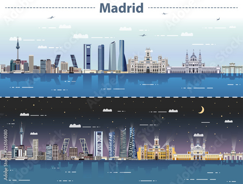 vector illustration of Madrid city skyline at day and night