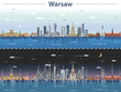 vector illustration of Warsaw city skyline at day and night - 226164430
