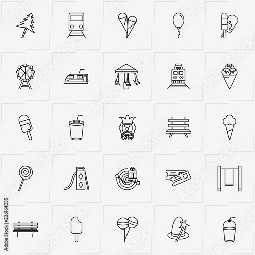 Fototapeta Amusement Park line icon set with ice cream, juice cup and tickets