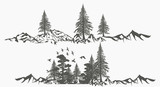 Collection of vector forest borders with mountains for design - 226165459