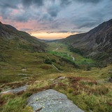 Beautiful dramatic landscape image of Nant Francon valley in Snowdonia during sunset in Autumn - 226170059