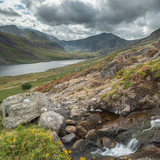 Stunning landscape image of countryside around Llyn Ogwen in Snowdonia during ear;y Autumn - 226170498