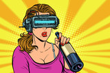 VR glasses. Woman drinking wine from a bottle. Loneliness and sa - 226171238