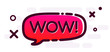 Pink gradient speech bubble with Wow sign.