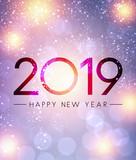 Lilac shiny 2019 Happy New Year greeting card. - 226175604
