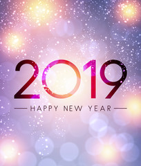 Lilac shiny 2019 Happy New Year greeting card.