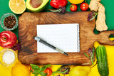 Shopping list, recipe book, diet plan. Diet or vegan food - 226178250