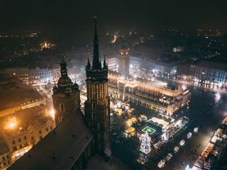 Kraków Bazylika Mariacka z powietrza