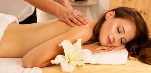 Body care. Spa body massage treatment. Woman having massage in the spa salon © Samo Trebizan