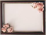 Pink roses flower empty white border soft background for valentine