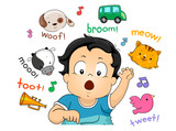 Kid Toddler Boy Imitating Sounds Illustration