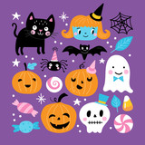 Halloween holiday cute element set - 226201878