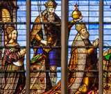 Stained glass window of Charles V and Isabella of Portugal - 226203254