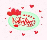 Happy Valentines day on ponk background with hearts. Modern calligraphy. Isolated