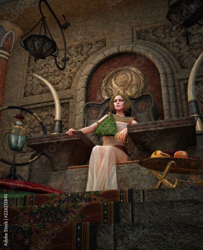 Ancient Egyptian Queen in the throne room, 3d CG