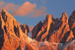 Quadro Beautiful mountain peaks covered by colored clouds at sunset, mountain landscape background