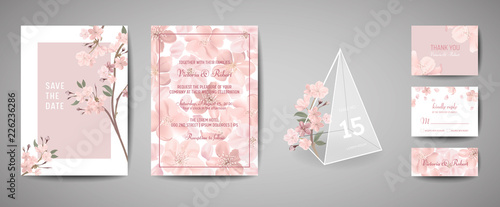 Wall mural Set of Botanical retro wedding invitation card, vintage Save the Date, template design of sakura flowers and leaves, cherry blossom illustration. Vector trendy cover, pastel graphic poster, brochure