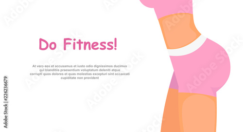 6cf1280ae1d Vector illustration of fitness girl body in pink sport clothes ...