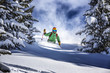 Leinwanddruck Bild - Offpiste skiing in deep powder snow
