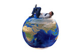 Businessman in globalization concept with earth on white